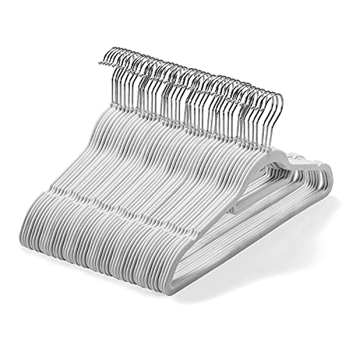 Set di 50 grucce in velluto (45 cm) – Grucce antiscivolo con barra di legame e gancio girevole a 360 gradi – Grucce di Armadio organizzazione, robusto e salvaspazio per abiti, giacche (grigio)