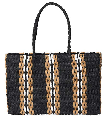 Becksöndergaard Strandy Bag für Damen in Schwarz Beige Weiß aus Bast - Strandtasche Schultertasche Laptoptasche - 42x27 cm - 4120244-010