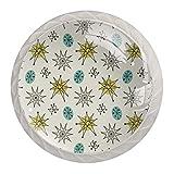 Perillas redondas para aparador (4 piezas) – Colorido decorativo floral cajón tirador de decoración del hogar perillas de hardware, vintage atómico de los años 50