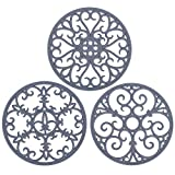 Non Slip Silicone Carved Trivet Mats Set For Dishes Pot Holders- Heat Resistant Coasters-Modern Kitchen Hot Pads For Pots & Pans   (Round, Set of 3, Grey)