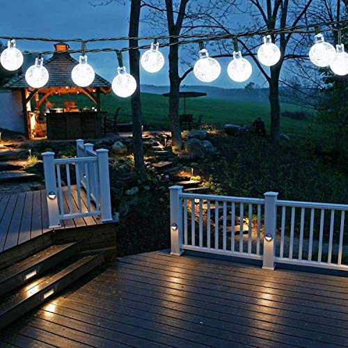 Solar Garden Lights Outdoor, 50 LED 7M/24Ft Solar String Lights Waterproof 8 Modes Indoor/Outdoor Fairy Lights Globe for Garden, Patio, Yard, Home, Party, Wedding, Festival Decoration (Clear White) [Energy Class A+++]
