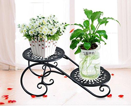 William 337 Stand de fleur fer forgé fleur stand 2 couche balcon salon bureau bureau plante plateau (Couleur : A)