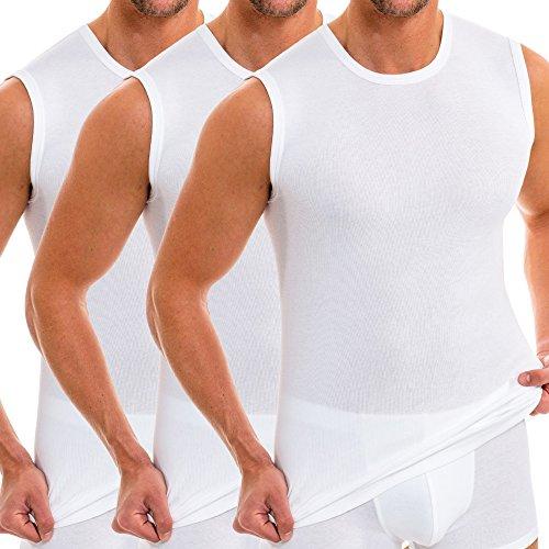 HERMKO 3040 3er Pack Herren Tank Top Unterhemd mit Rundhals-Ausschnitt aus 100% Bio-Baumwolle, Größe:D 5 = EU M, Farbe:weiß