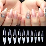 AORAEM Stiletto Nail Tips Acrylic False Nail Clear and Natural 1000Pcs Artificial Press on Fake Nails for Women with Bag (Short Clear+Natural)