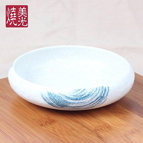 YUWANW Japonais Assiette en céramique Peinte à la Main Assiettes Rond Plat Profond Snack Snack Snack Creative Plat en grès, Bleu océan