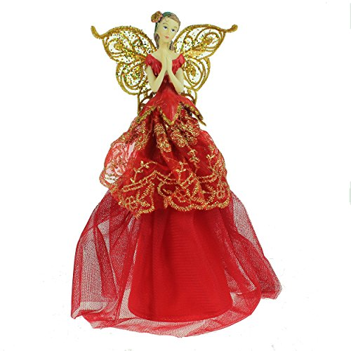 Red and Gold Fairy Christmas Tree Topper Gisela Graham