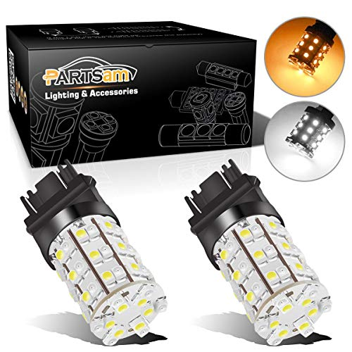 Partsam 2X 3157 3357 3457 Switchback Amber White Front Turn Signal LED Light 60 LED Bulb High Bright Turn Signal Light