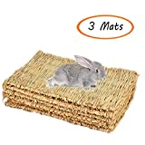 Grass Mat Woven Bed Mat for Small Animal Bunny Bedding Nest Chew Toy Bed Play Toy for Guinea Pig Parrot Rabbit Bunny Hamster Rat(Pack of 3) (3 Grass mats)