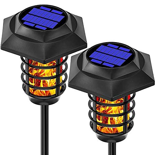 WOERD Llama Luz Solar de Exterior, 48 LED Luces de Llama Jardín, IP65 Impermeables para Jardín Terraza Patio Fiestas, Iluminación al Aire Libre, Encendido Apagado Automático