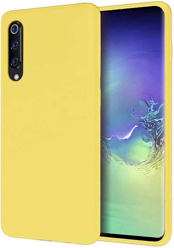 FHXD Compatible con Funda Xiaomi Mi 9 SE Suave TPU Silicona Líquida Cubierta Anti-Scratch Anti-Shock Antideslizante Caso Cáscara-Amarillo