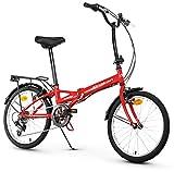 Anakon Folding Sport Bicicleta Plegable, Adultos Unisex, Rojo