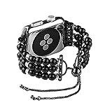Acsion ローキー ファッションパールストラップウォッチ5 4バンド44mm 40mm For iWatchバンド42mmコレアウォッチ38mm女性ベルトブレスレットウォッチバンド3-black 1-38mm or 40mm