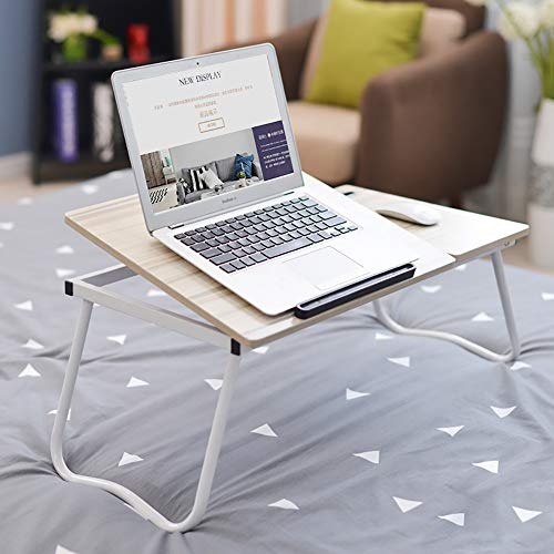 Portable Wooden Laptop Stand Foldable Desk Notebook Table Laptop Bed Tray Bed Table Flat Style Design, Play Games on Bed Table with Drawer (Flat-27In),Whitemaple,Upgrade