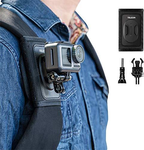 TELESIN Rucksack-Schultergurt-Halterung mit verstellbarem Schulterpolster und J-Hakenschnalle, Klettverschluss für GoPro HERO 10 Hero 9 Hero 8 Hero 7 6 5 4 3,Osmo Action,Insta 360 Kamera
