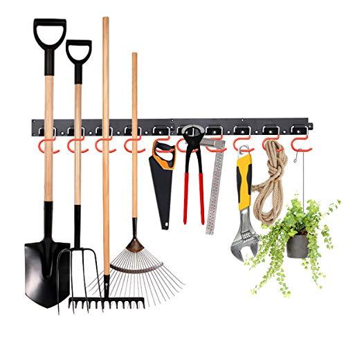 MOHOO Sistema de almacenamiento ajustable de 64 pulgadas soportes de pared para herramientas organizador de herramientas de montaje en pared de garaje herramientas de jardín con 4 rieles 20 ganchos