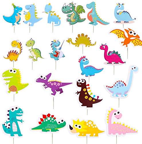 WENTS Tortendeko Geburtstag Junge Dinosaurier Cake Toppe + Happy Birthday Dschungel Tier Kuchendeckel Topper für Kinder Tortendeko Geburtstag Urwald Party Junge Mädchen