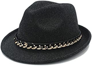 Fashion Sun Hat for 100% Wool Retro Women Men Fedora Hat for Elegant Lady Cap Church Cloche Chapeau Femme Top Cap with Fashion Chain Suitable for hot Weather Season (Color : Black, Size : 57-58cm)