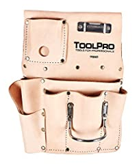 Accommodates belts up to 3 in. wide. Steel loop hammer holder and tape measure clip. Premium top grain leather. Right handed version. Heavy duty stitching and nickel plated hardware.