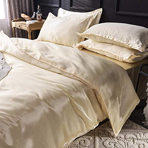geek cook Bedding 4 Piece,Solid color Tencel ice silk washed silk four-piece set-Camel_2.0 meters: quilt cover 220 * 240