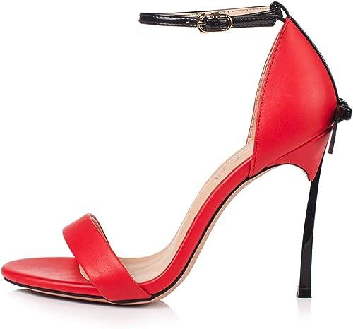 Farbeblock Bow High Heel Ladies 10CM Metal Sandalias de tacón Alto