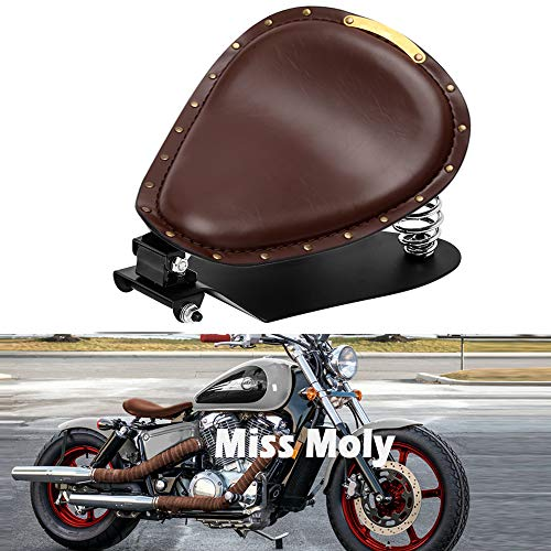 Motorrad Leder Solo Sitz, Motorrad Sitz Mit Frühling Grundplatte für Bobber Sportster XL1200 883 48 Dyna Softail Fatboy (Braun)