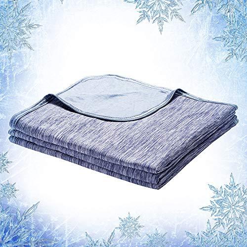 Elegear 2 en 1 Manta de Verano Microfibre Manta de Frio, 100% Algodón Manta Fina para Sofá o Cama, Cálido Manta de Viaje Doble Cara para Adultos y Niños - 200 x 150 cm-Azul