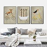 ZHJJD Bicicleta Perro Avestruz Jirafa bañera Lienzo Pintura nórdica Animal de Dibujos Animados Cartel niños Sala de Estar Pared Arte decoración 40x60cmx3 sin Marco