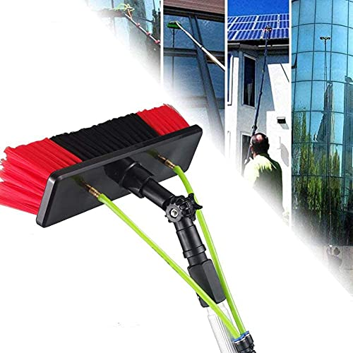 HAOJON 5-12m Window Cleaning Pole, Caravan Washing, Truck, Campers and Buses Car Wash, Windows Washing Also Suitable for Photovoltaic and Solar Panels / 30cm Brush Head / 12M