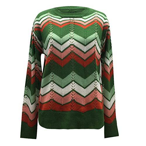 Longra Dames pullover strepen gebreide trui onregelmatig bont gebreide trui lange mouwen casual sweatshirt fit vrouwen top herfst winter gebreide trui S groen