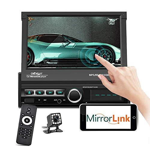 Podofo Single Din Car Stereo Bluetooth 7 Inch Motorized Flip Out Touchscreen Car Radio in Dash Head Unit Support FM AUX USB SD Mirror Link with Backup Camera