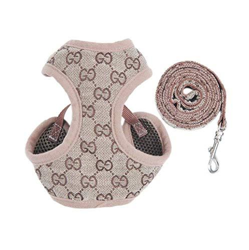 PupPal Hundegeschirr, Verstellbar Weiches Mesh Weste Geschirre Leine Set für Welpen Hunde, Brustgeschirr Laufgeschirre Sicherheitsgeschirre für Katze/Hunde (L)