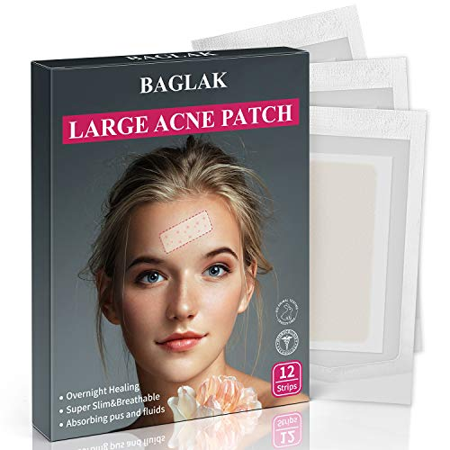 Acne Pimple Patches, Large Hydrocolloid Acne Patch Spot Dots, XL Pimple Stickers,(6 packs-12 Strips) Tea Tree oil, Zit Patch
