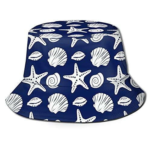 P.X.M.E. Bonito estampado náutico, estrella de mar, concha de mar, caracol, azul, blanco, tracela de verano, talla única, gorra de playa al aire libre