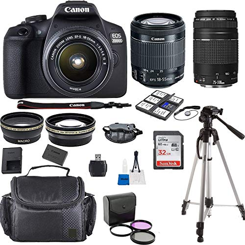Canon EOS 2000D Rebel T7 Kit with EF-S 18-55mm f/3.5-5.6 III Lens + Canon 75-300 Lens F/4.5-5.6 III + Accessory Bundle + Model Electronics Cloth