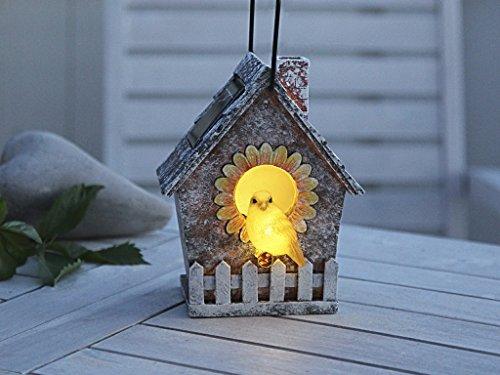 Best Season 477-91 Led-vogelhuis, 23 x 13,5 cm, 2 warm witte leds met zonnepaneel inclusief accu, outdoor, vierkleurig karton