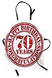 ABAKUHAUS 70 ° Compleanno Grembiule, 70 Anni Congrats, Comodo per la Cucina Unisex con Collo Regolabile per Cucinare Cuocere Arrostire e Giardinaggio, Rosso e Bianco
