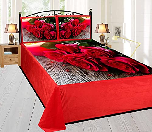 Amvy Creation Digital Printed Velvet King Size Double Bedsheet, 1 bedsheet with 2 Pillow Covers (Multicolour, 95 x 105 Inch) - Red Roses