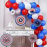 PartyWoo Luftballons Blau Weiss Rot, 66 Stück Luftballons Rot, Luftballons Weiß, Luftballons Blau und Papierfächer, Luftballons Rot Blau für Amerika Party, USA Party Deko, Abschiedsparty Deko USA