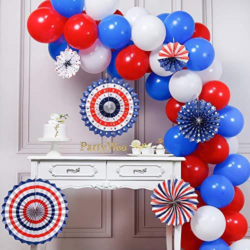 PartyWoo Roodblauwe En Witte Ballonnen, 66 Stuks 12 Inch Rode Ballonnen Witte Ballonnen Koningsblauwe Ballonnen Voor Captain America, Spider Man, Usa Party, De Avenger Party Inclusief Paper Pom Poms