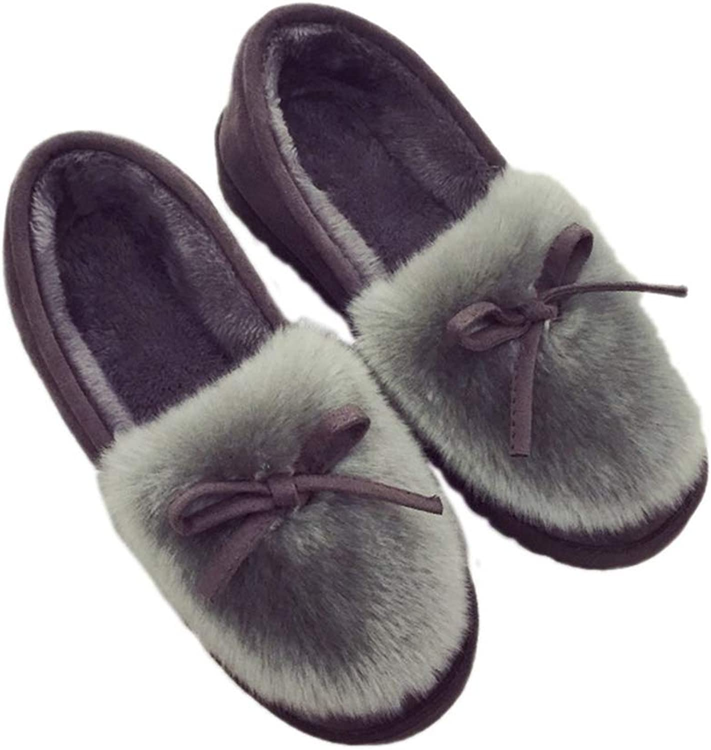 Nafanio Women Winter Moccasin shoes Warm Flock Flat Slip On Slippers for Home Warm Indoor Outdoor Girl Flats