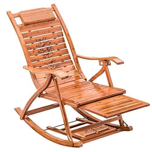 Sillas de jardín, sillones reclinables, mecedora de bambú con reposapiés de masaje, sillones reclinables ajustables para exteriores, silla plegable para almuerzo, mecedora de porche para adultos