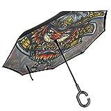 Reverse Umbrella, Ronin Tiger Samurai Warrior Inverted Umbrella,UV Protection Windproof Umbrella C-Shaped Handle Double Layer Reverse for Car Outdoor Use