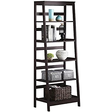 Yaheetech 5-Tier A Frame Wood Ladder Shelf Bookcase Multifunctional Storage Rack Display Shelf for Plants, Dark Espresso