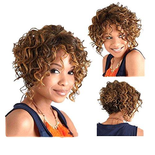 Tonake Perruque courte pour Noir femelle Petite crépus Cheveux bouclés perruque résistant à la chaleur Perruques