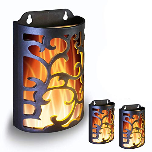 WRalwaysLX Decorative Lanterns with Timer, Candle Light Flameless Candles Indoor/Outdoor Wall Sconces,flickering flames wall light,Use 3AA Battery(NOT Included),3 Pack