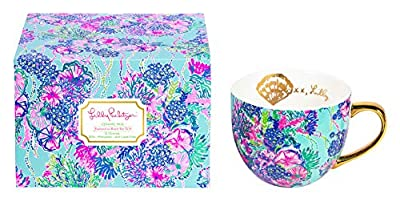 Lilly Pulitzer 12 Ounce Ceramic Coffee/Tea Mug with Gold Handle and Gift Box, Beach You To It