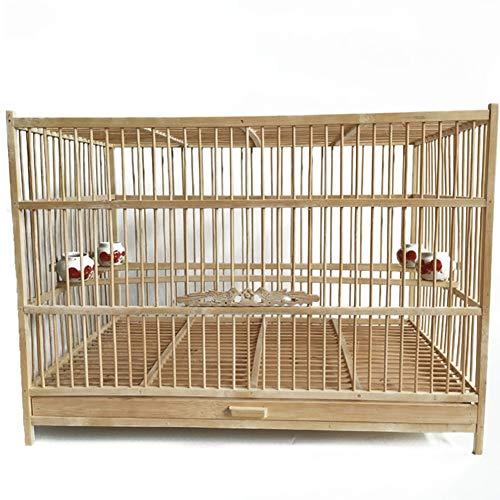 LIPETLI Jaula Exquisita Talla de Puerta Jaula de Pájaros Jaula de Bambú Jaula de Cría de Pájaros Budgericar Aviary Adecuado para Pequeñas Aves Loro