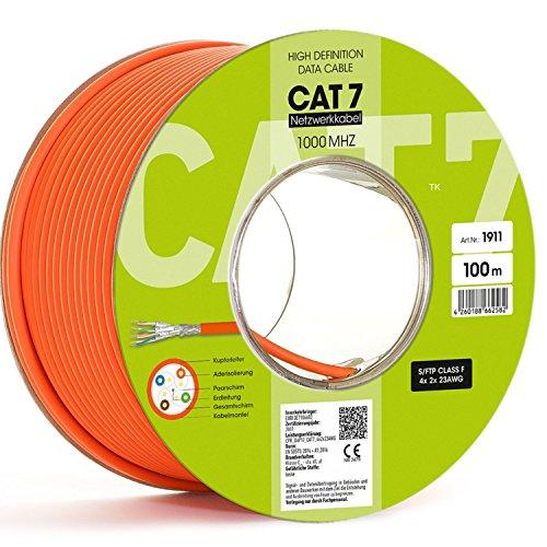 Cable de red CAT7 LAN con certificado de licencia, 100 m, 10 Gbit, 1000 Mhz, S/FTP6, 5, cat. 7, 10/100/1'000/10'000, sin halógenos LSOH