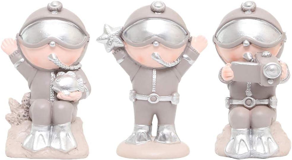 QULONG Adornos de jardín 3 Piezas Mini Diver Figurine Resina Miniatura Diver Hombres Estatua Jardín de Hadas Casa de muñecas Escultura Juguete Decoración de Mesa para pecera Terrario Maceta Estilo