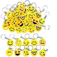 JZK 50 x Emoji sleutelhanger emoticon sleutelhanger voor kinderen verjaardagsfeestje gunsten feestzak vullers...